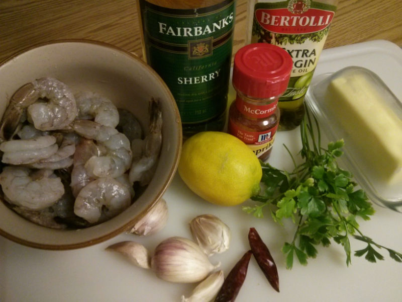 Gambas Al Ajillo (Garlic Shrimp) ingredients