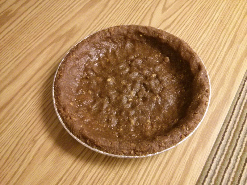 Baked chocolate cookie pie crust
