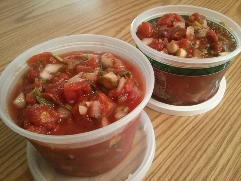 Salsa in containers
