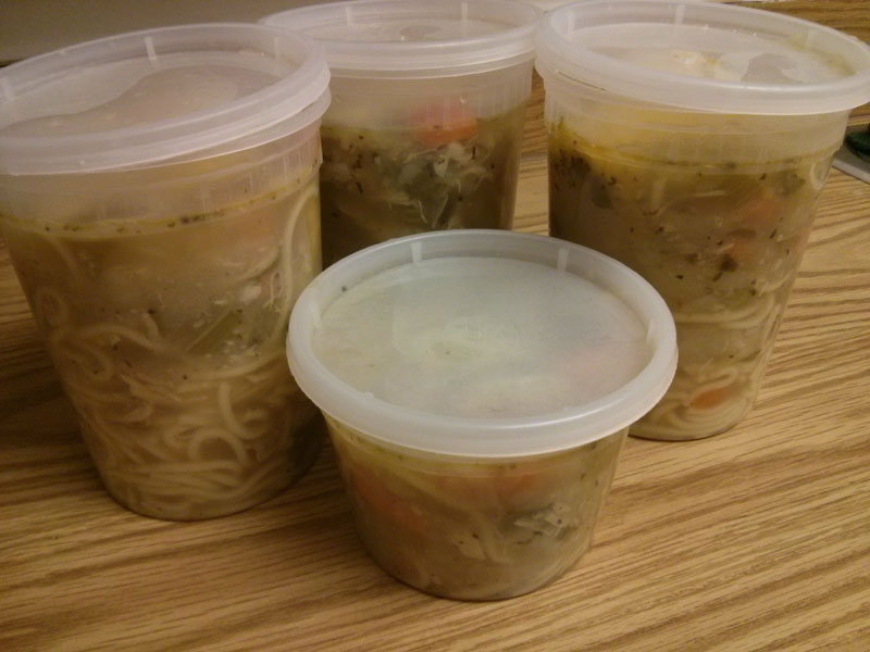 Chicken Vegetable Noodle Soup ready to be stored