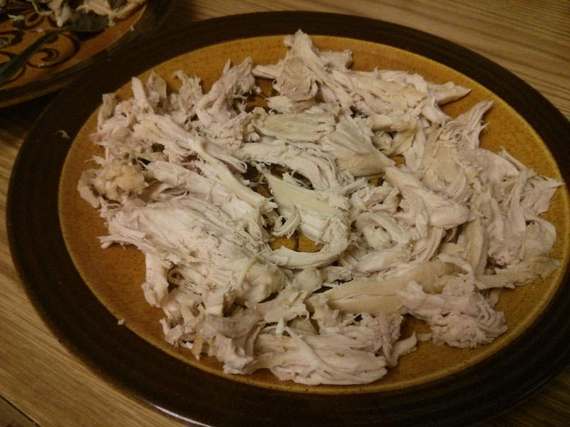 Chicken de-boned and shredded