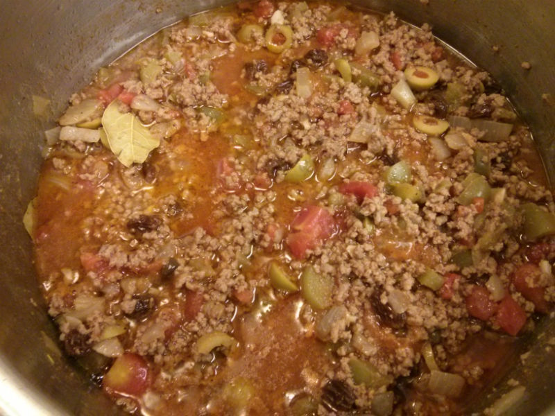 Cuban-style Picadillo Simmering