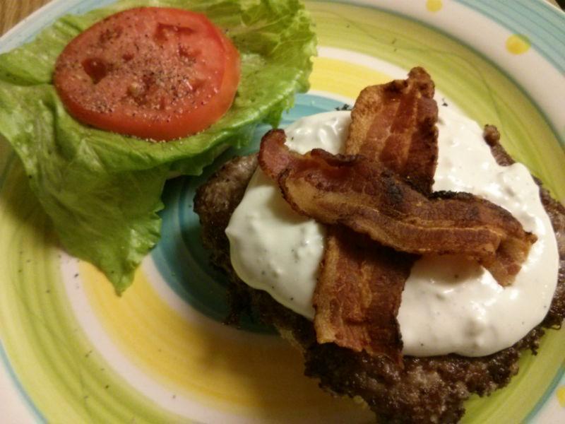Bacon Blue Cheese Burger built