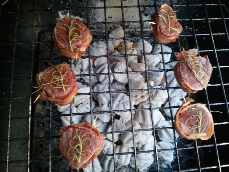 Pork medallions grilling