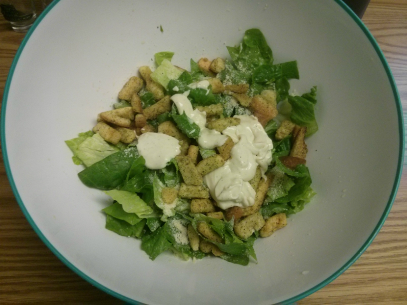 Caesar Salad ingredients in a bowl