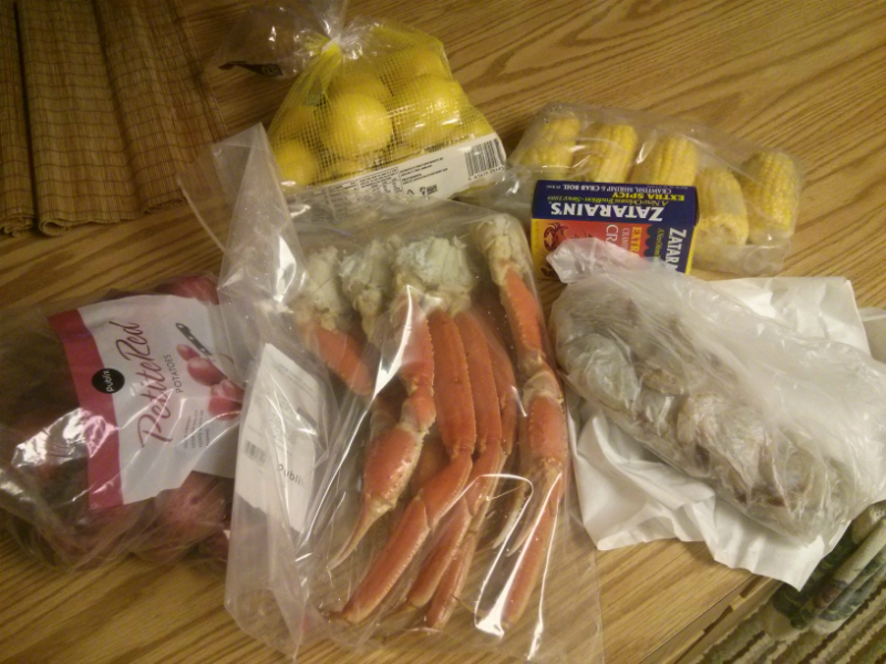 Snow Crab and Shrimp Boil ingredients