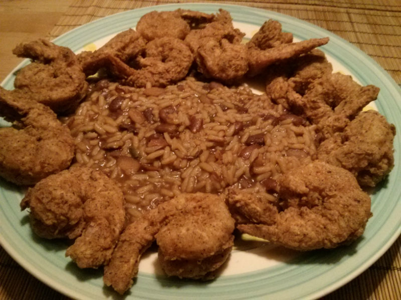 Cajun Fried Shrimp with Read Beans and Rice