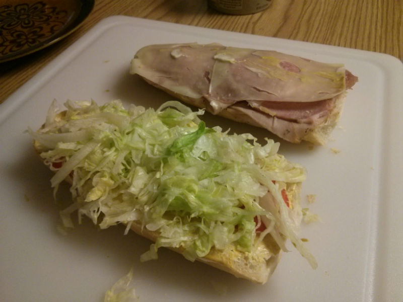 Cuban sandwich with lettuce and tomato