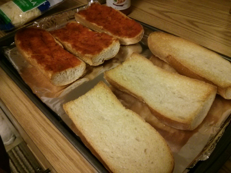 French Bread toasted and sauced