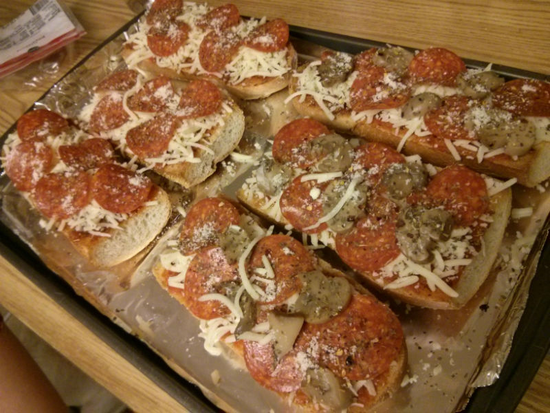 French Bread with toppings ready for the oven