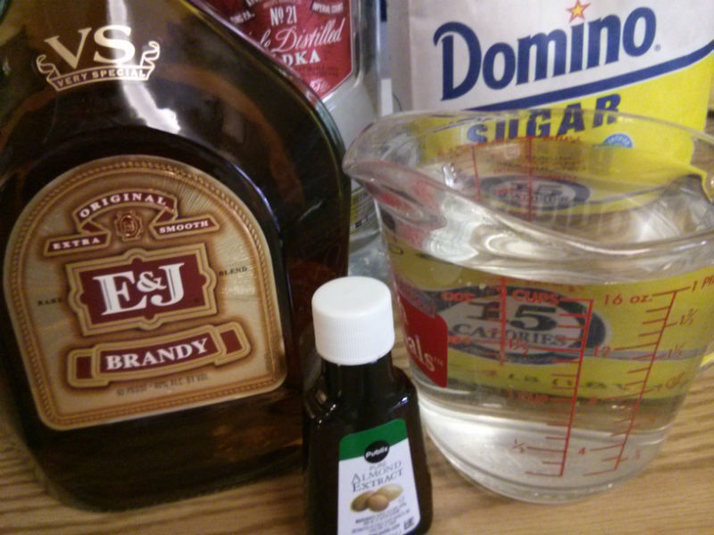 Homemade Amaretto ingredients
