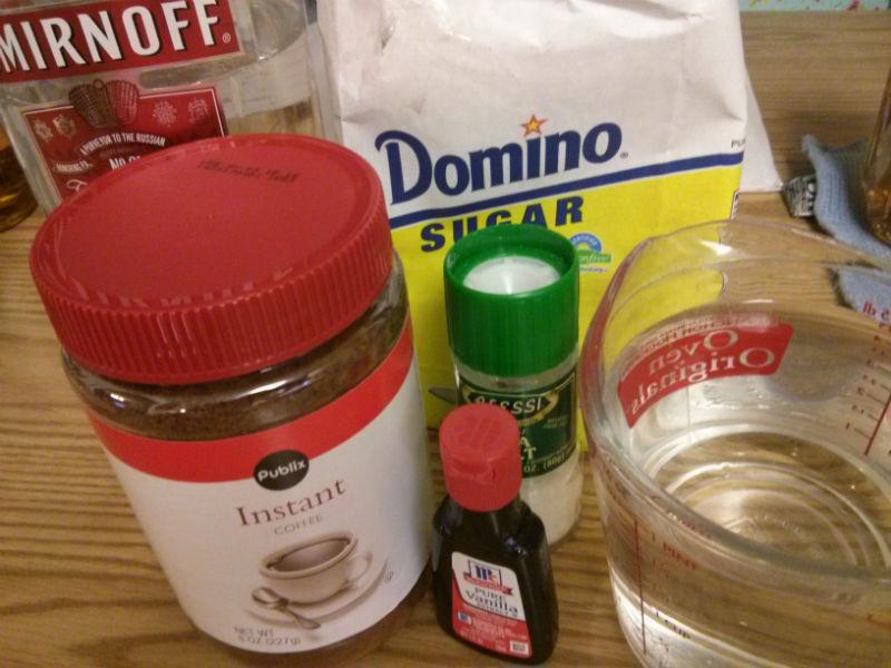 Homemade Kahlua ingredients