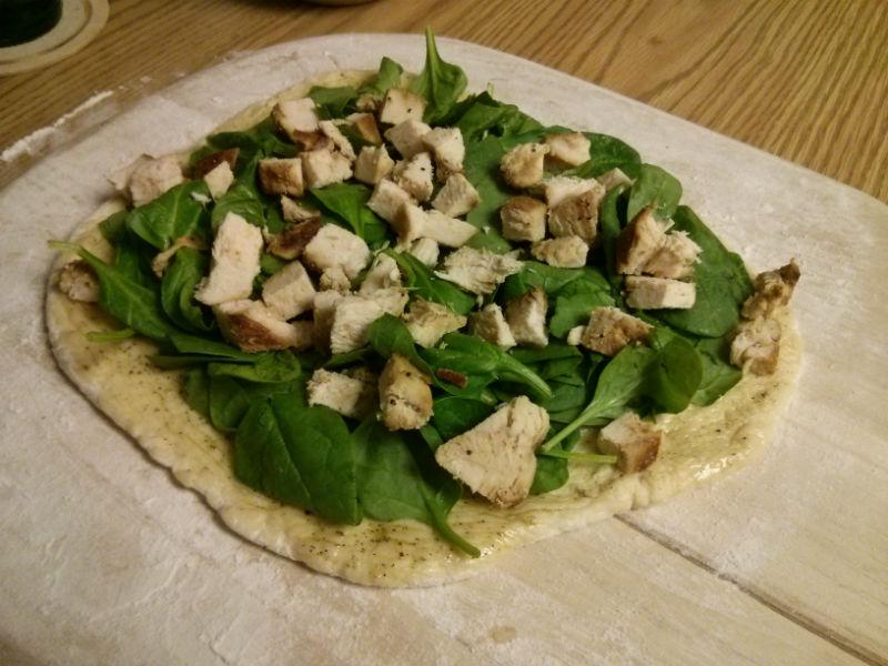 Add spinach and chicken