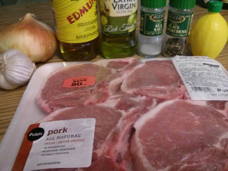 Lemon Garlic and Onion Pork Chops ingredients