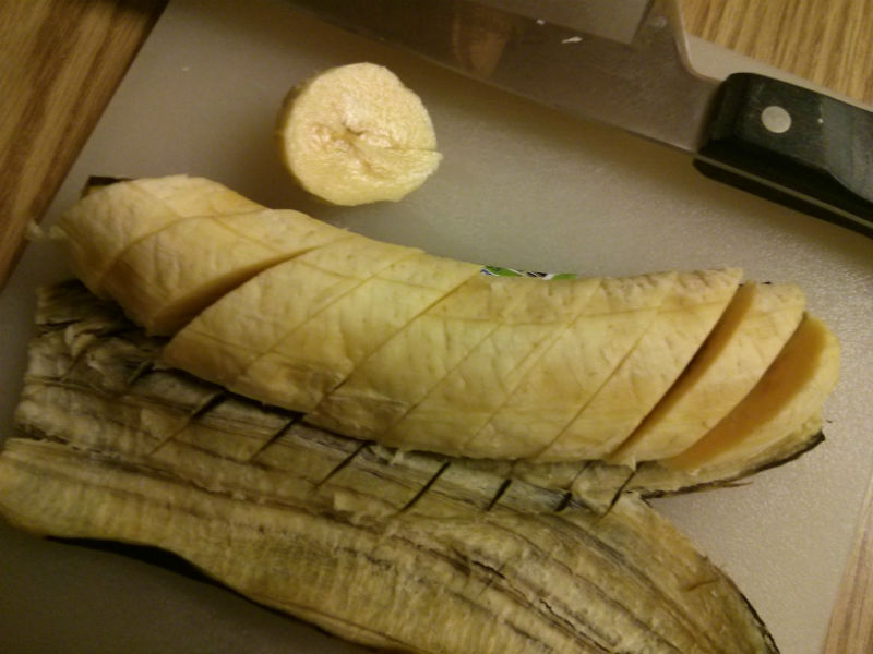Platano sliced into thin slices