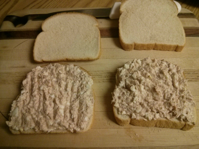 Spread evenly on two slices of your favorite type of bread