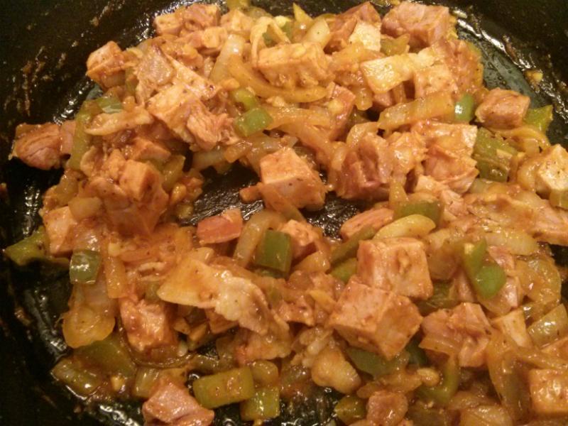 Add ham and tomato sauce