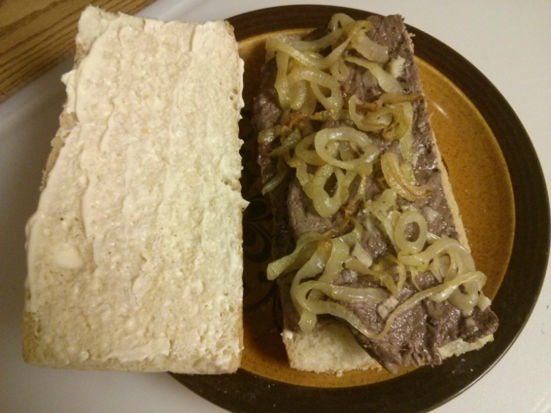 Assembled Palomilla Steak Sandwich