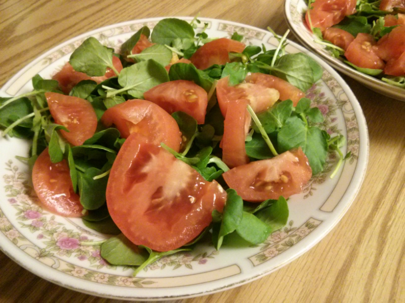 Watercress & Tomato Salad ready to be dressed